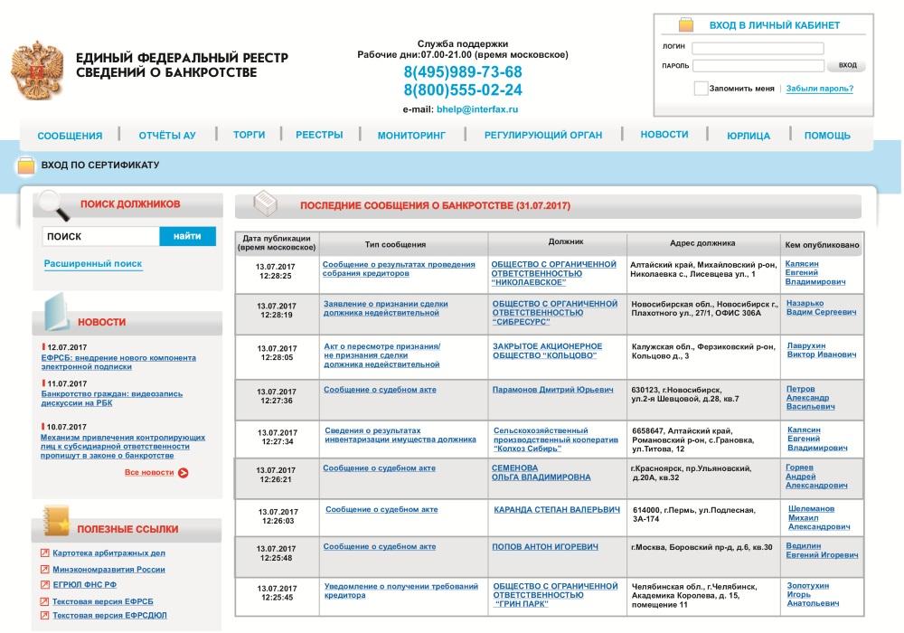 59a434c08217 Получить и найти необходимую информацию о предприятиях-банкротах можно,  посетив Единый Федеральный реестр сведений о банкротстве, который содержит  сообщения ...